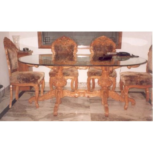 Brown Wooden Carved Dining Table With 6 Chairs